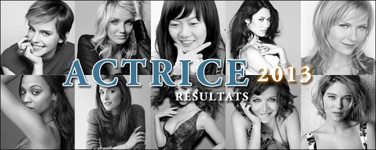 Actrice 2013 résultats